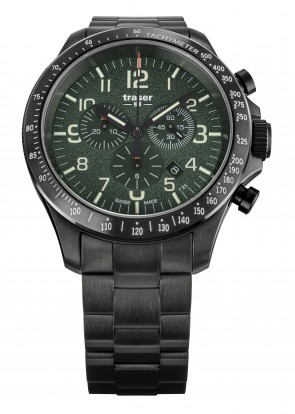 P67 Officer Pro Chronograph Green (Stahlband)